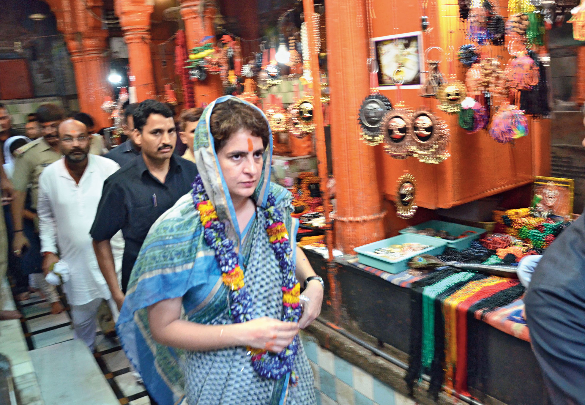 Priyanka offers prayers at Kashi Vishwanath temple in Varanasi on Saturday.