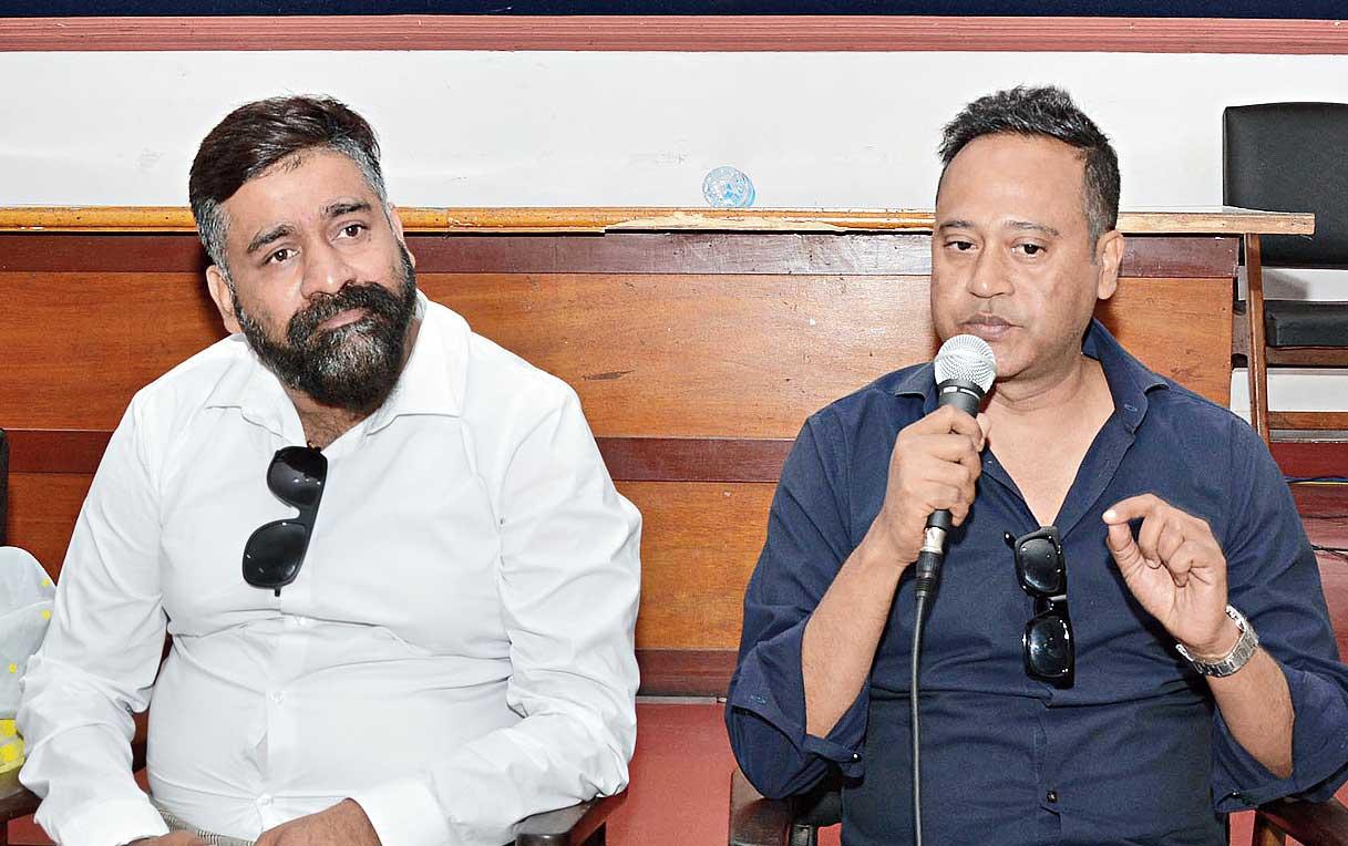 Sanjib Dey speaks in Guwahati on Wednesday.
