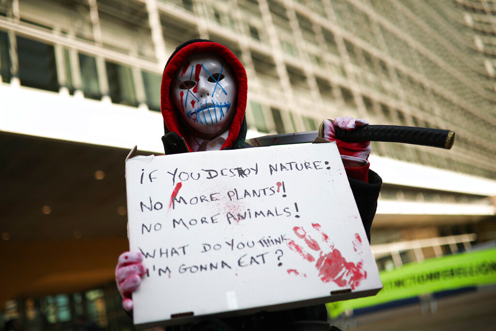 An protester outside the European Commission headquarters in Brussels on October 31