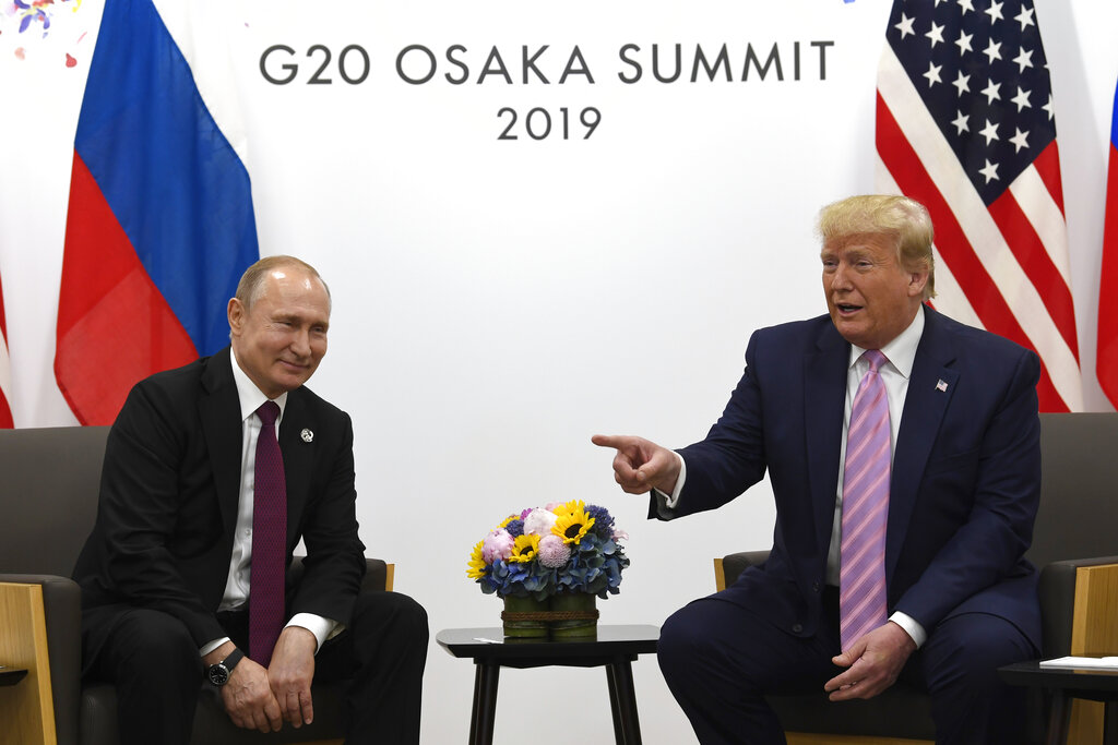 President Trump meets with Russian President Putin on the sidelines of the G20 summit in Osaka on June 28.