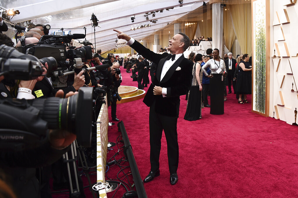 Tom Hanks arrives at the Oscars on Sunday, February 9, 2020, at the Dolby Theatre in Los Angeles