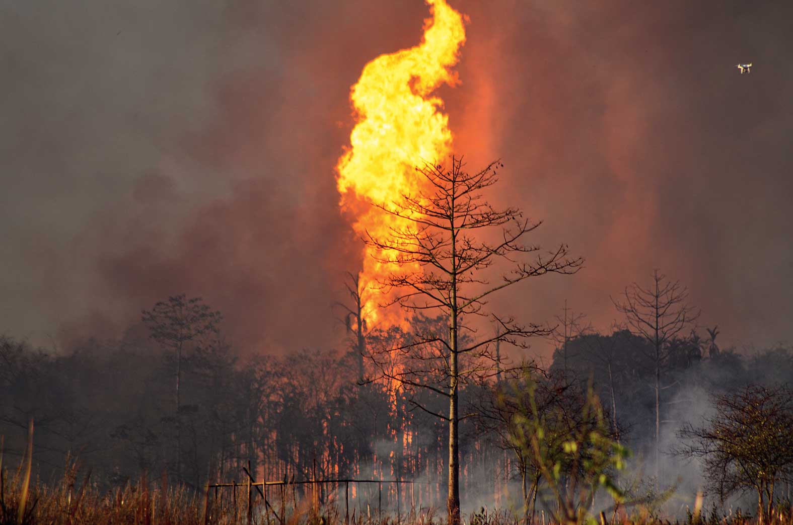 The fire at Baghjan oil field in Tinsukia on Tuesday.