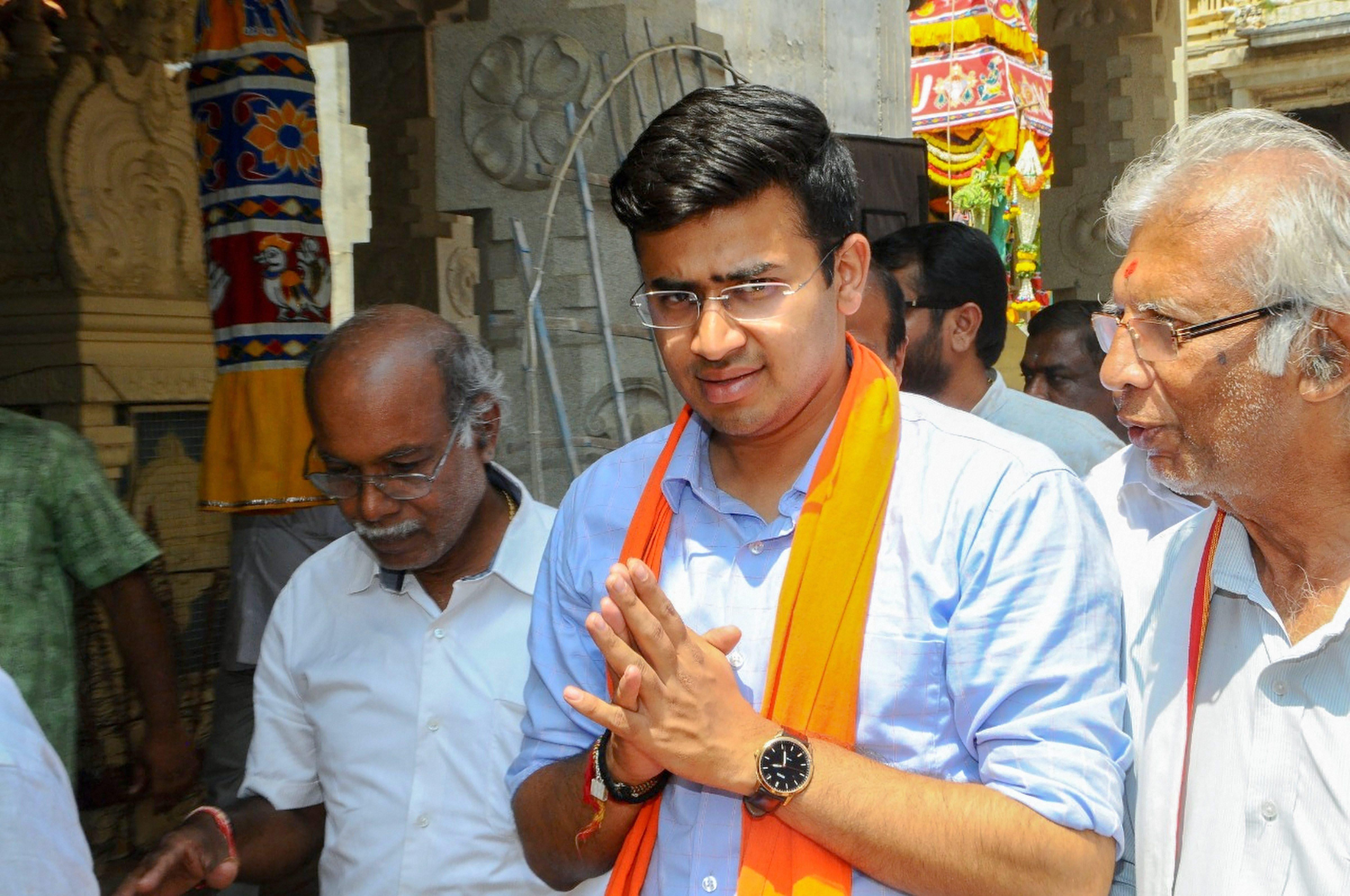 Bangalore South BJP candidate Tejasvi Surya campaigning on April 11.