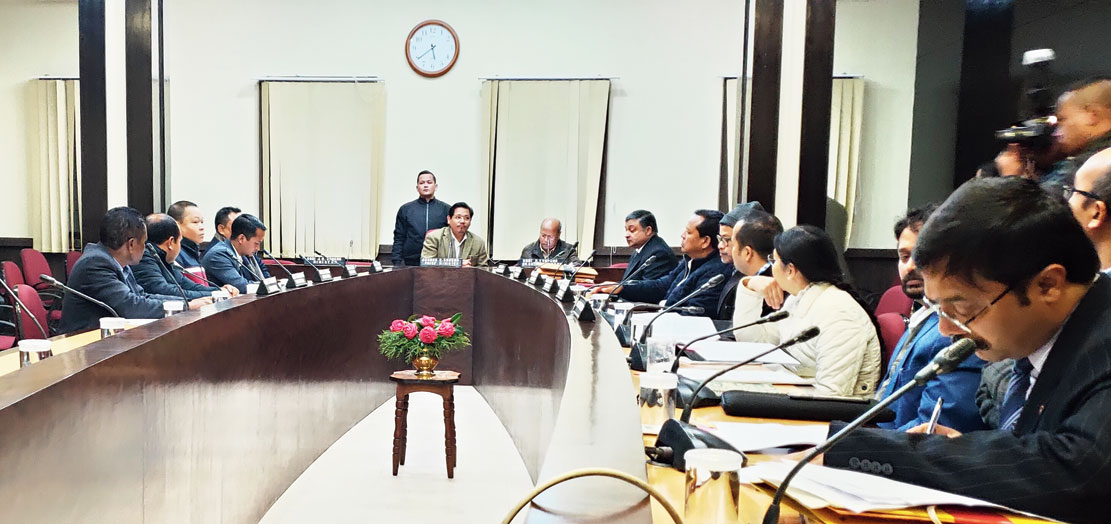 The cabinet meeting under way in Shillong on Monday