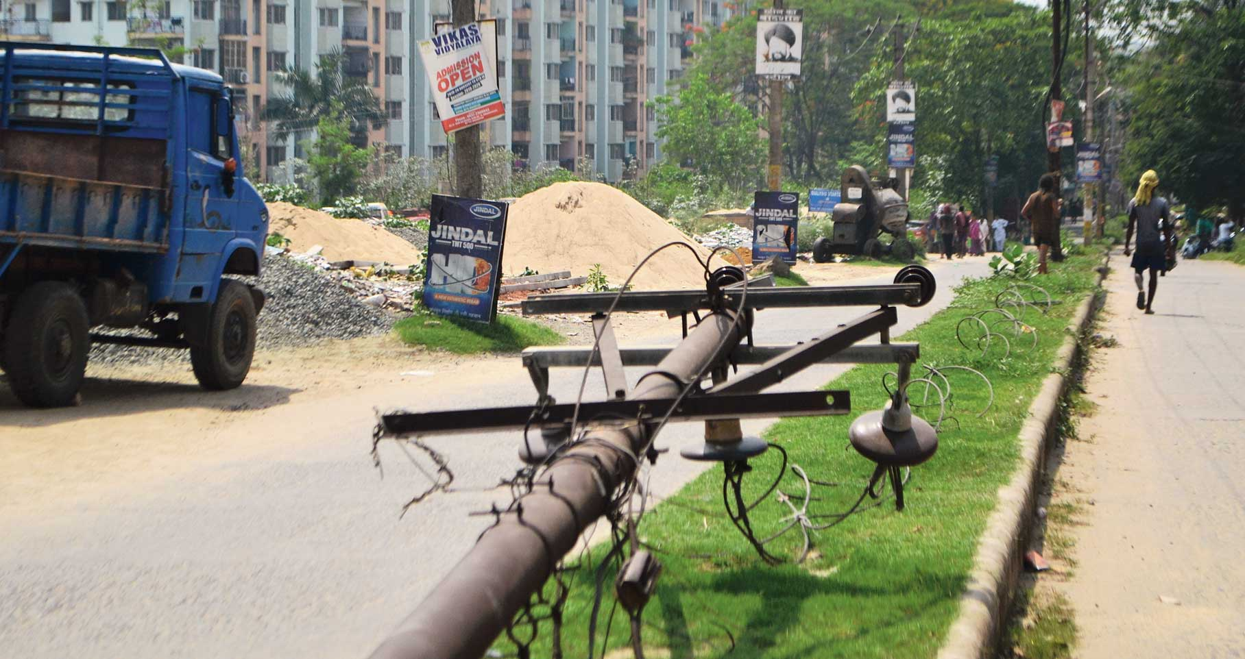 The fallen electric pole near Aastha Space Town in Mango, Jamshedpur, on Saturday.