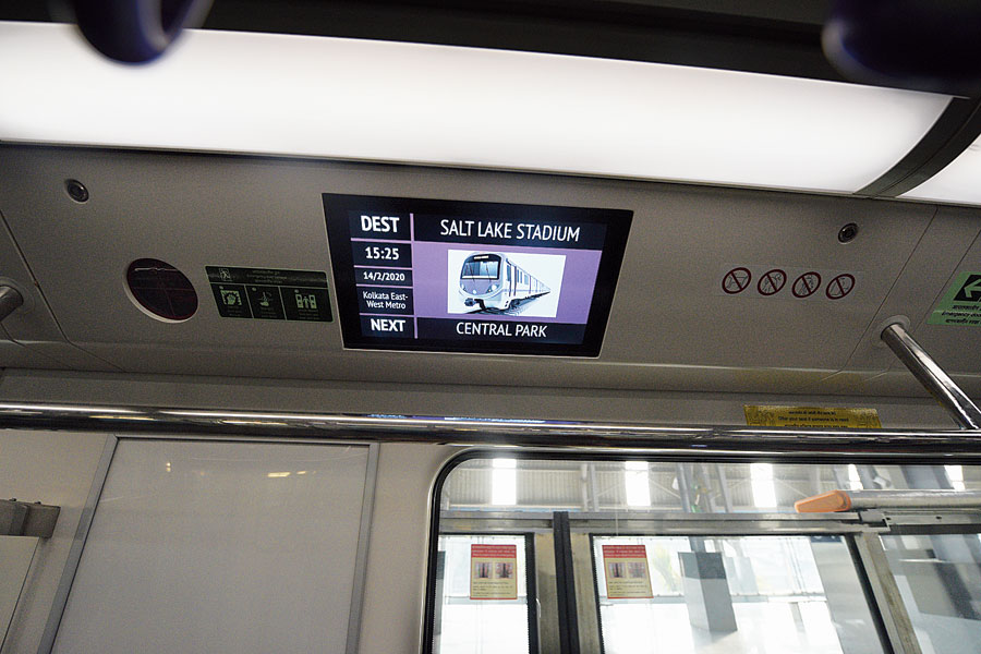 A display board inside an East-West Metro train