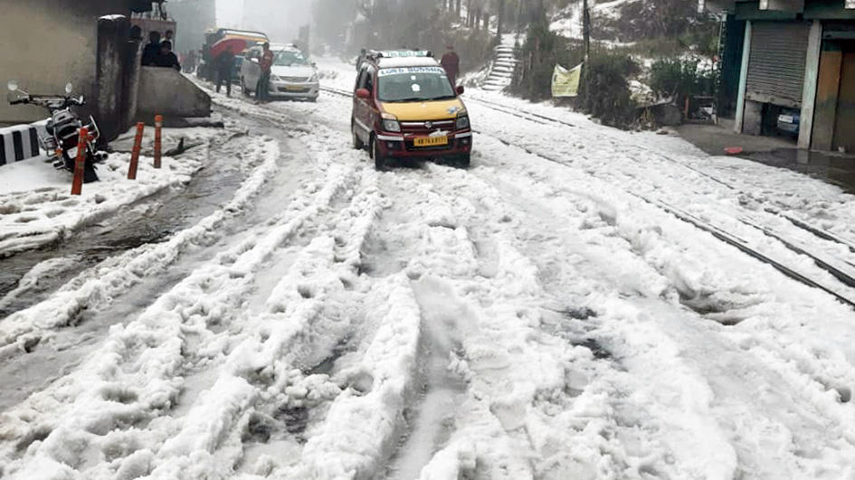 A road in Darjeeling after the storm.
