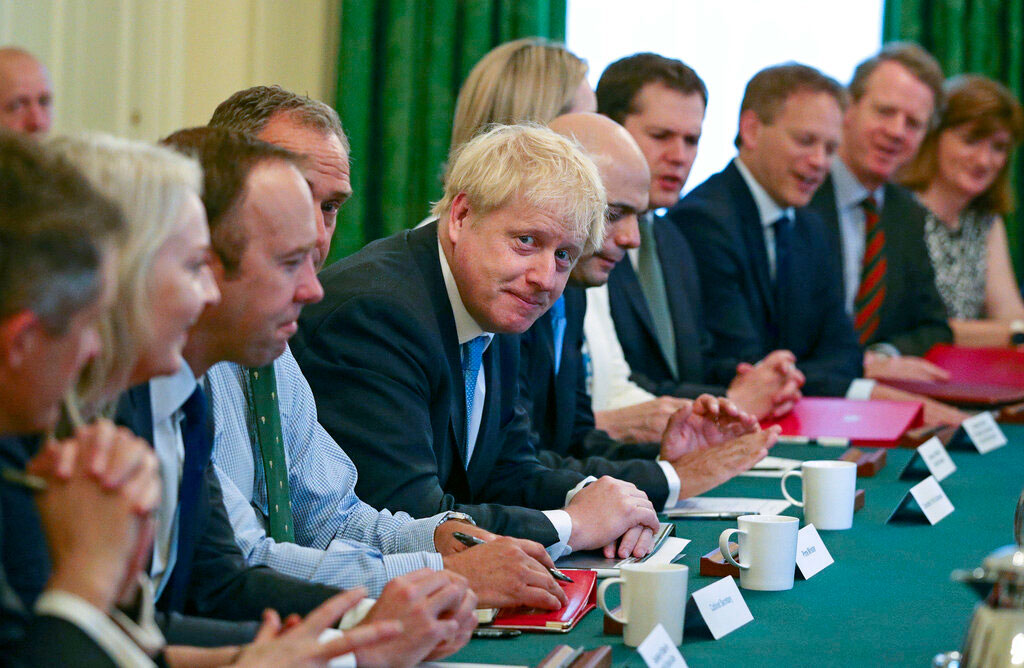 Britain's newly appointed Prime Minister Boris Johnson holds his first Cabinet meeting at Downing Street in London on July 25, 2019.