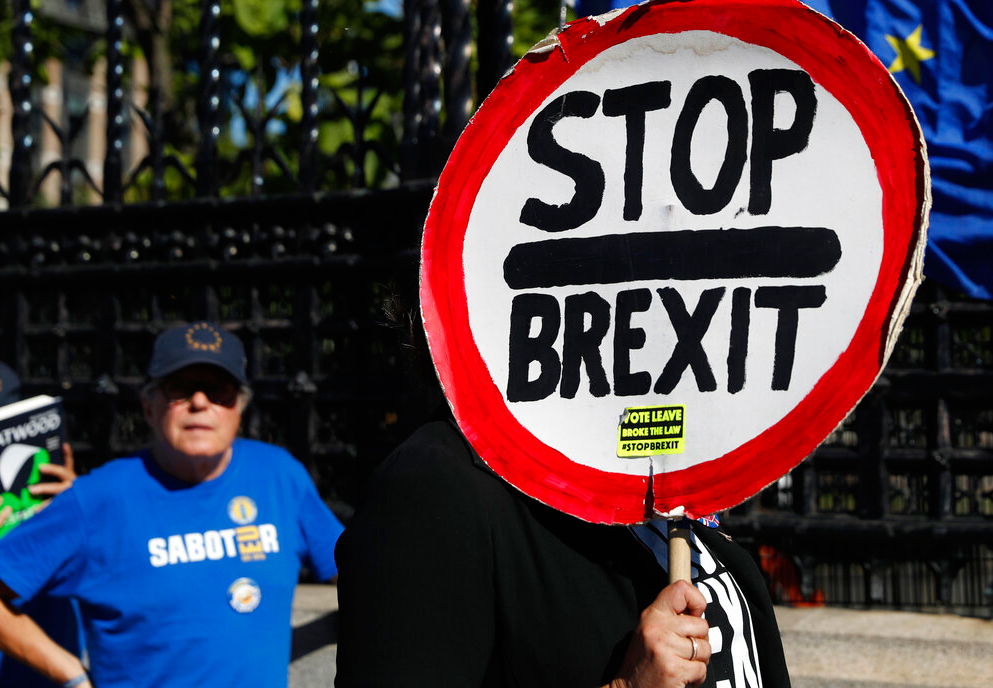 Ani-Brexit protesters demonstrate outside the Houses of Parliament in London on Thursday, September 12, 2019. There is still a chance — perhaps a last chance — for one of the world's most venerable democracies to help turn the global tide against nationalist populism
