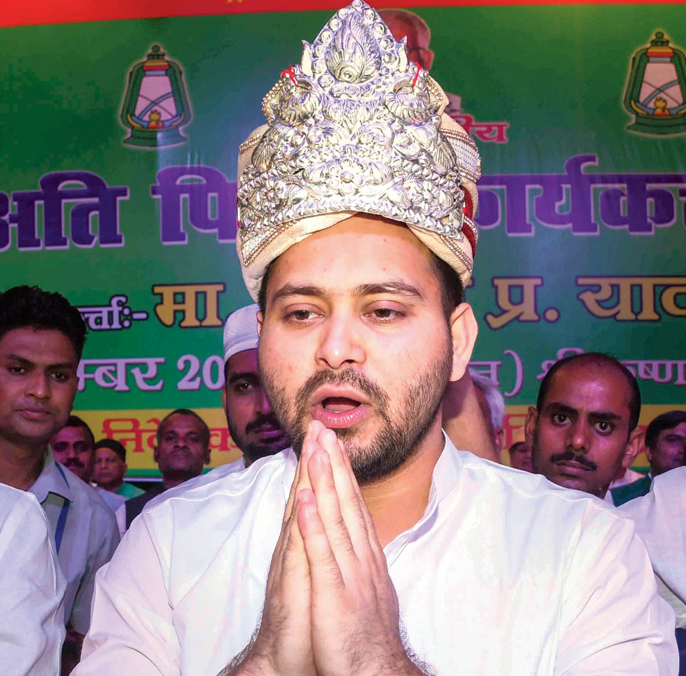 Tejashwi Prasad Yadav at the programme organised by the RJD's EBC cell in Patna on Saturday.