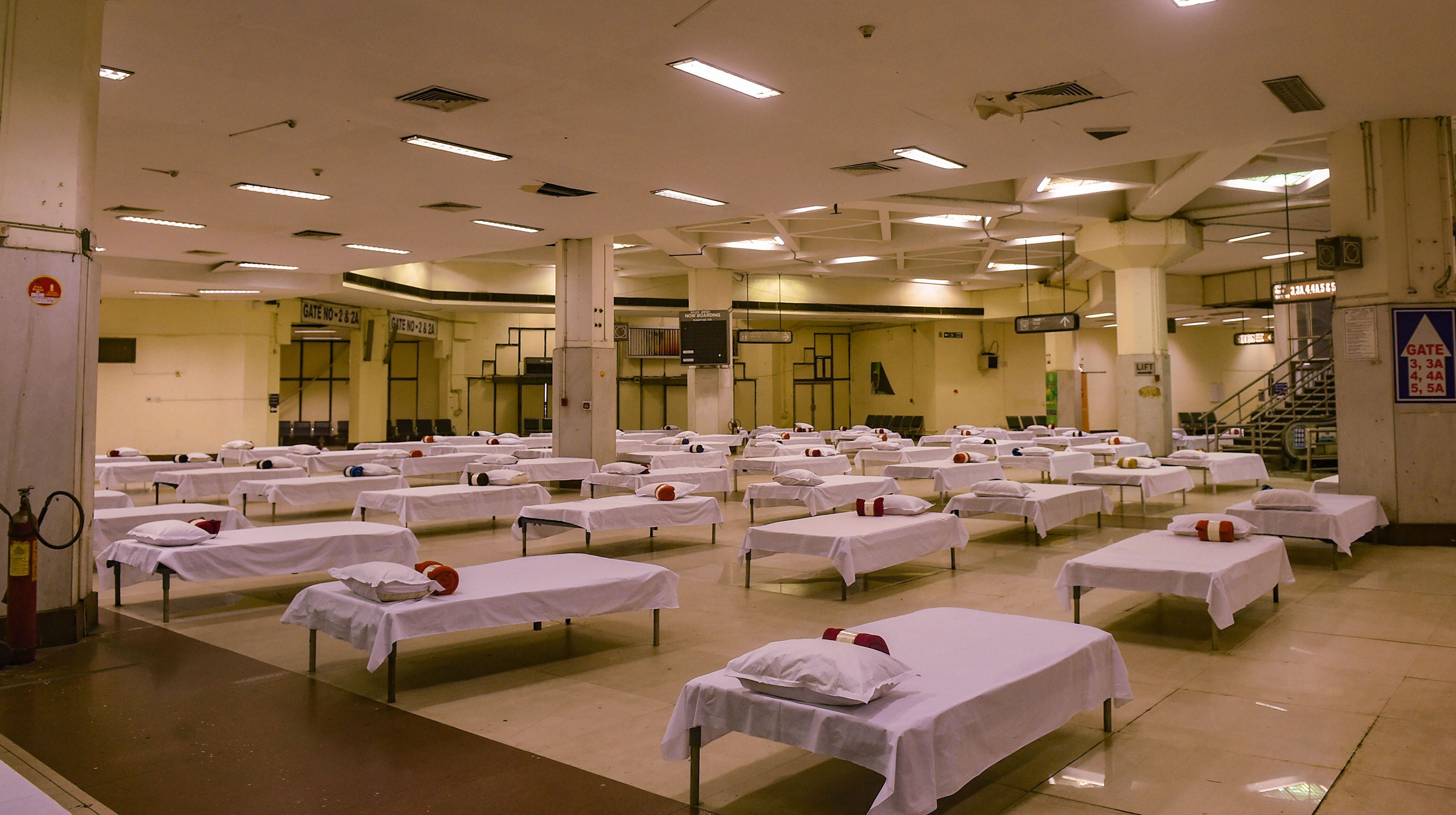 A 400-bed quarantine facility prepared at the NSCBI Airport for the flight passengers in Calcutta on Thursday.