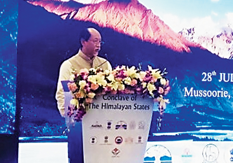 Nagaland chief minister Neiphiu Rio at the conclave in Mussoorie on Sunday.