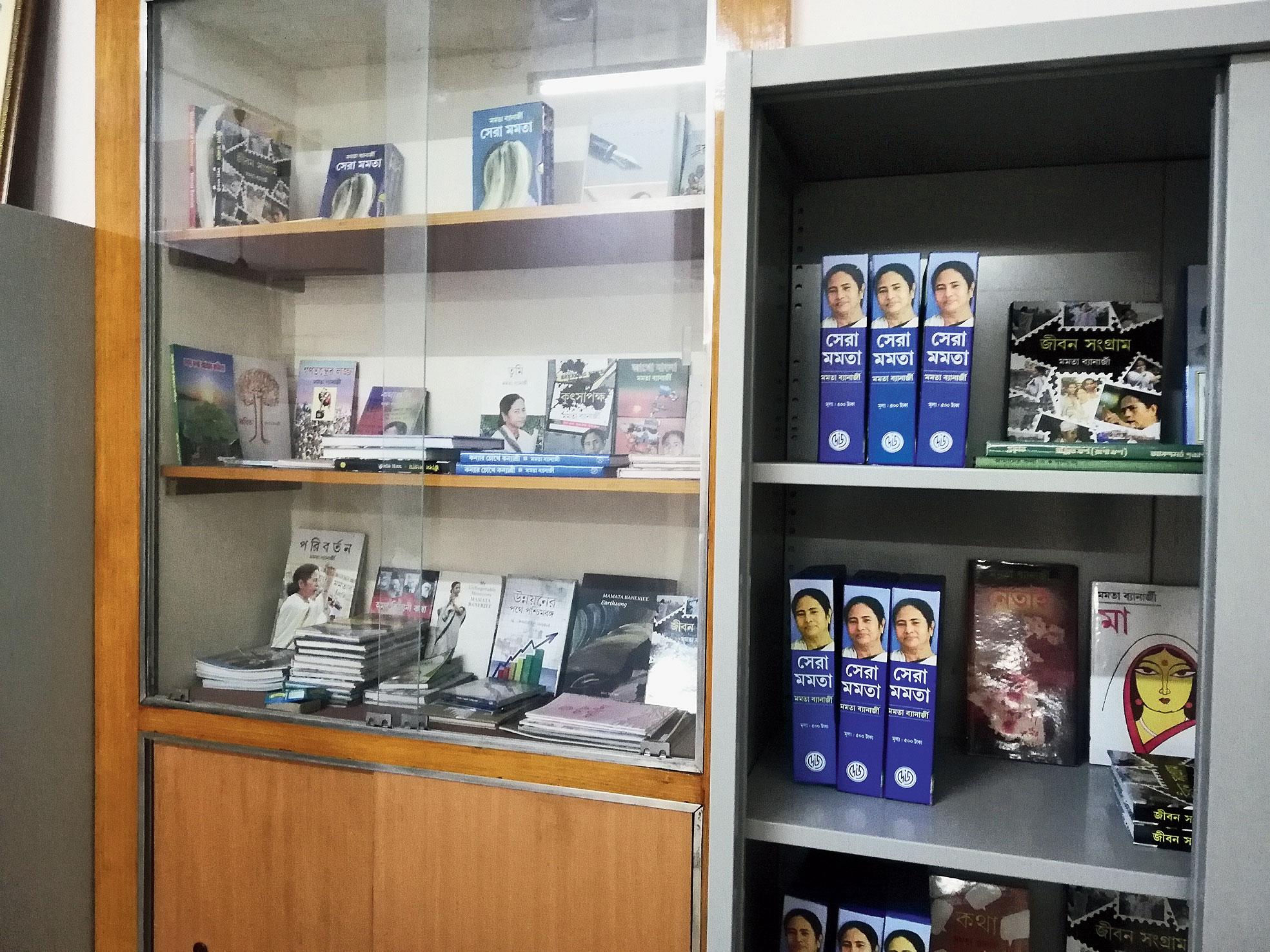 A shelf of Mamata's books at the East Burdwan zilla parishad.