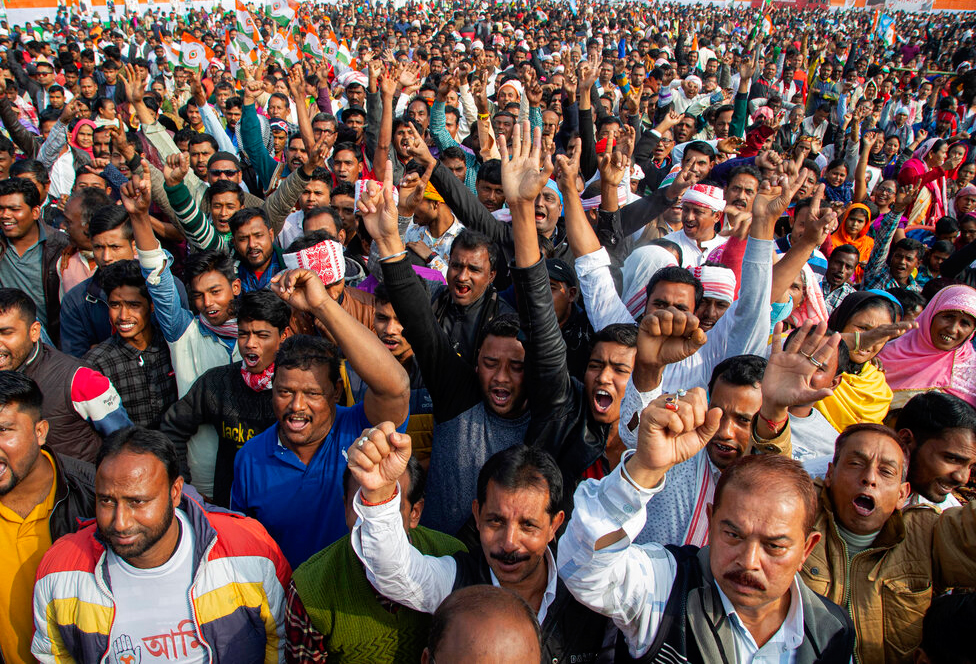 Indian National Congress party activists shout slogans at a rally against the Citizenship Amendment Act in Guwahati, Assam.