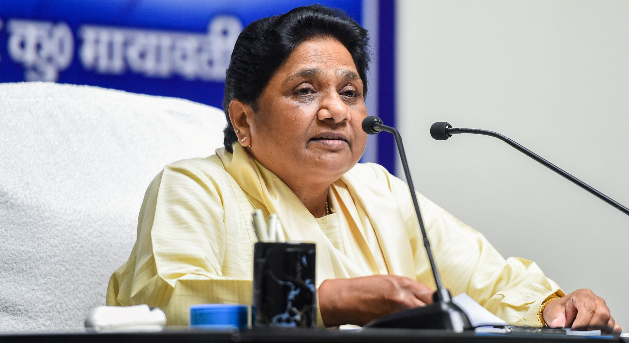 Bahujan Samaj Party president Mayawati addresses a press conference after Election Commission banned her from campaigning for two days, in Lucknow on Monday, April 15, 2019.