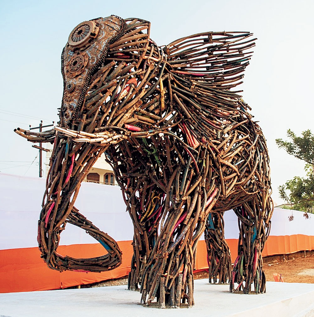 A sculpture made from waste material at the open-air sculpture museum in Bhubaneswar on Tuesday.