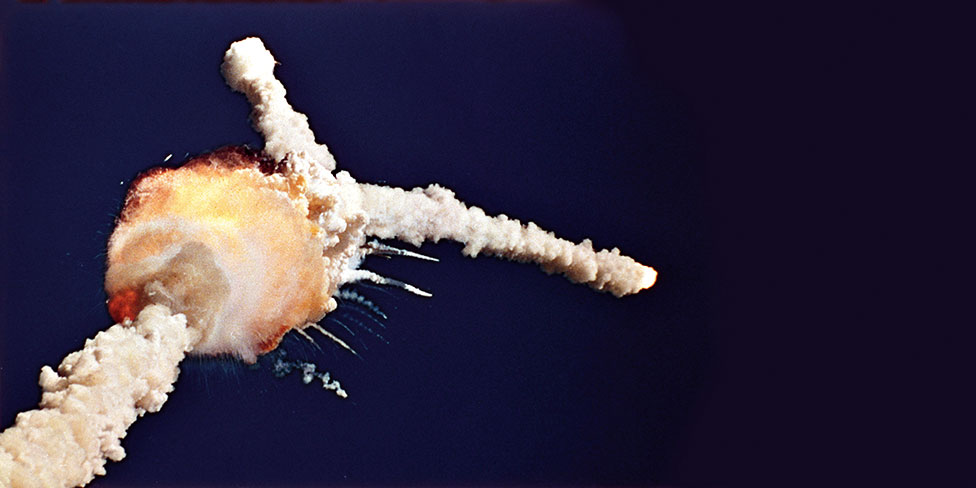 Nasa's Challenger shuttle disintegrates after take-off