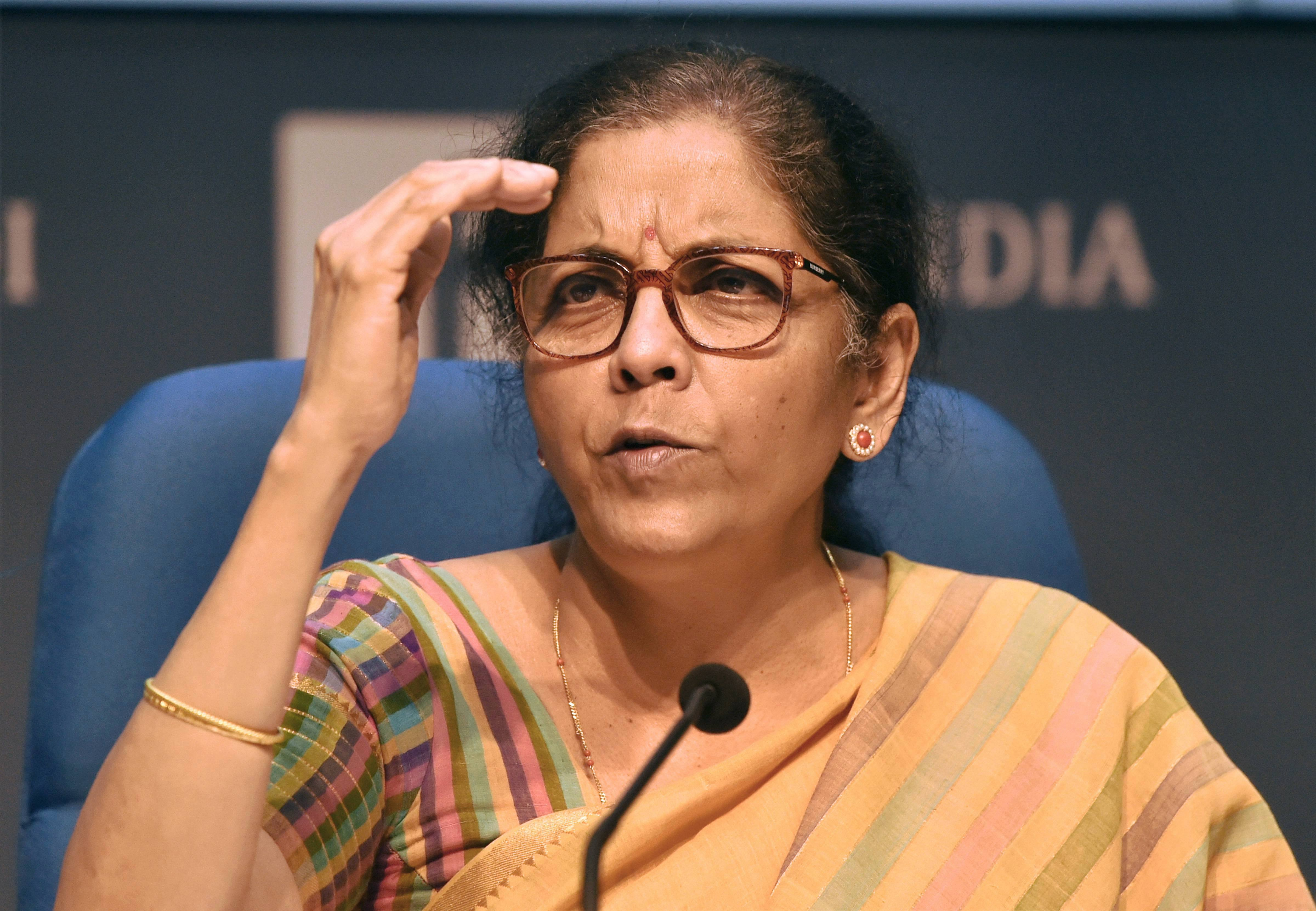 Union Finance Minister Nirmala Sitharaman addresses a press conference at National Media Centre in New Delhi, Thursday, May 14, 2020.