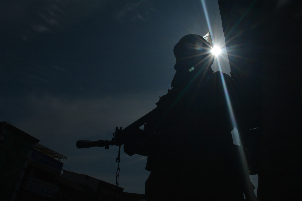 A CRPF jawan stands guard in Srinagar, Jammu and Kashmir.
