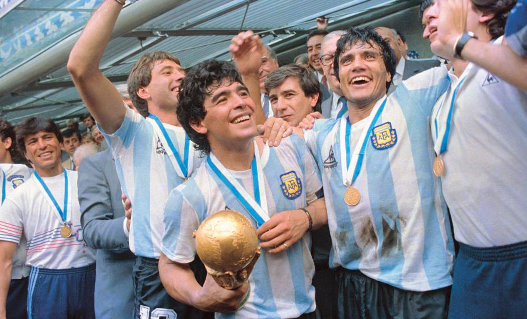 Diego Maradona (holding trophy) with his teammates after winning the 1986 Fifa World Cup. The final, held at the Estadio Azteca in Mexico City on June 29, 1986, pitted Argentina against West Germany. Argentina won 3–2.