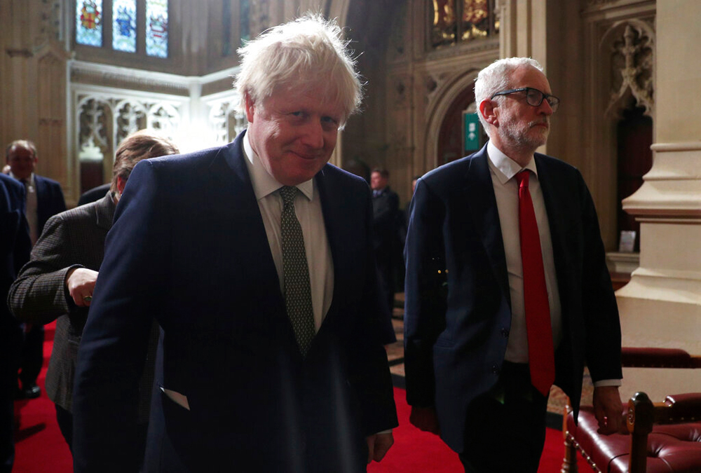 Boris Johnson and Jeremy Corbyn at the Houses of Parliament in London on December 19