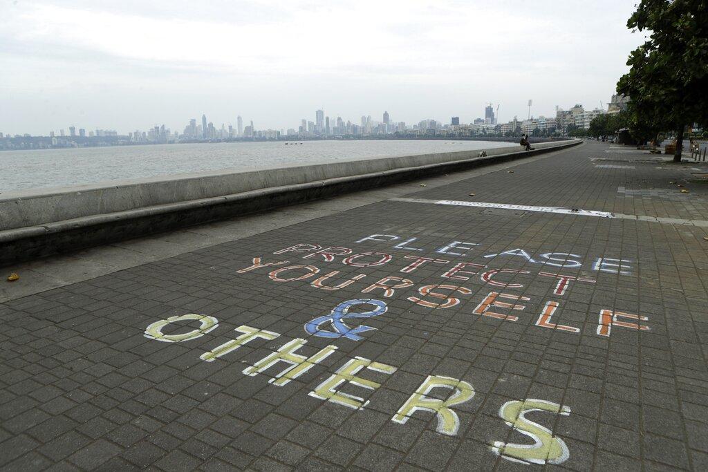 A message written on the Arabian Sea coast in Mumbai, India, Tuesday, June 2, 2020.