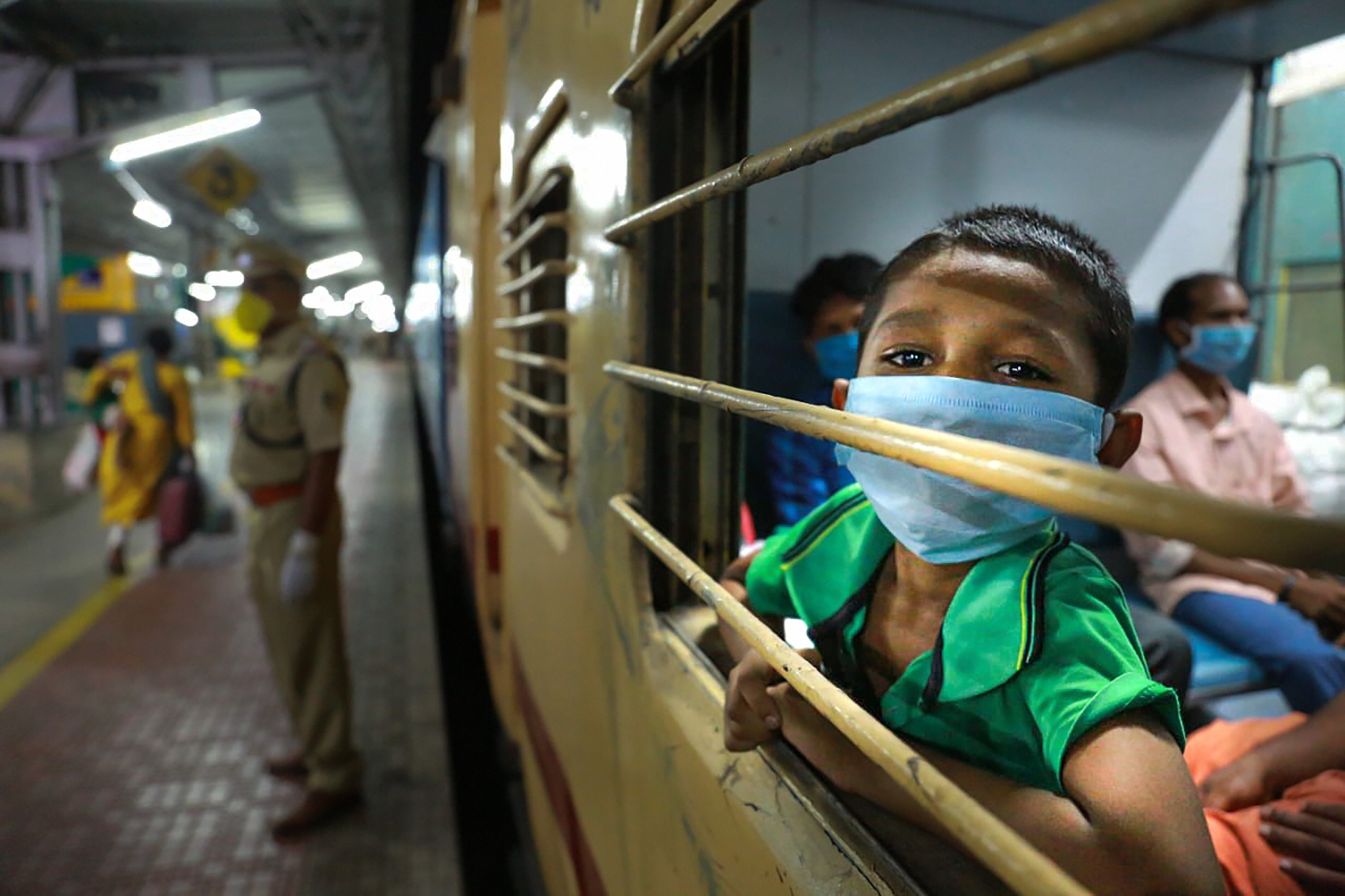 Migrants on board a special train for Bhubaneswar to reach their native places, amid ongoing COVID-19 lockdown