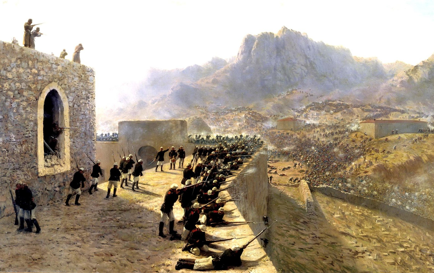 An 1891 oil painting by Lev Feliksovich Lagorio depicting Russian troops repulsing a Turkish assault against the fortress of Beyazid on June 8, 1877. In the early 20th century, Ottoman decline became the subject of a great deal of interest in India