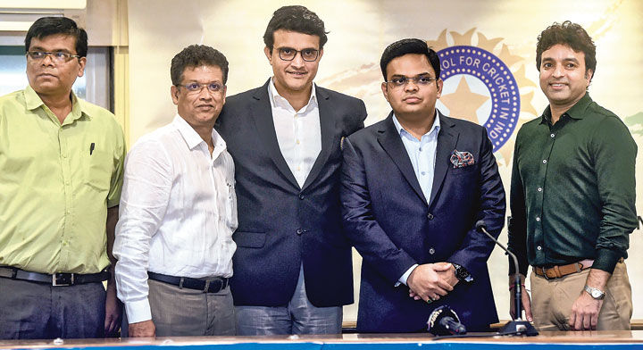 BCCI president Sourav Ganguly with his team in Mumbai on Wednesday
