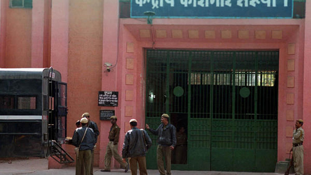 An entrance to the Tihar prison complex in Delhi. An inmate here was allegedly branded with an 'Om' symbol