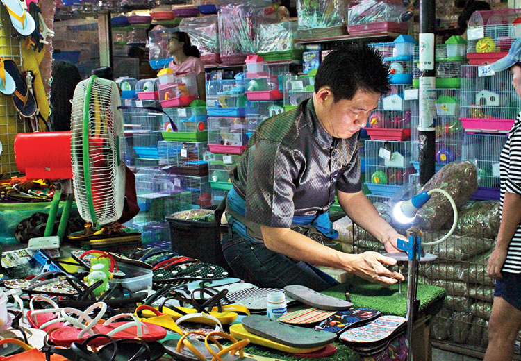 Custom-made sandals for sale at Chatuchak Weekened Market