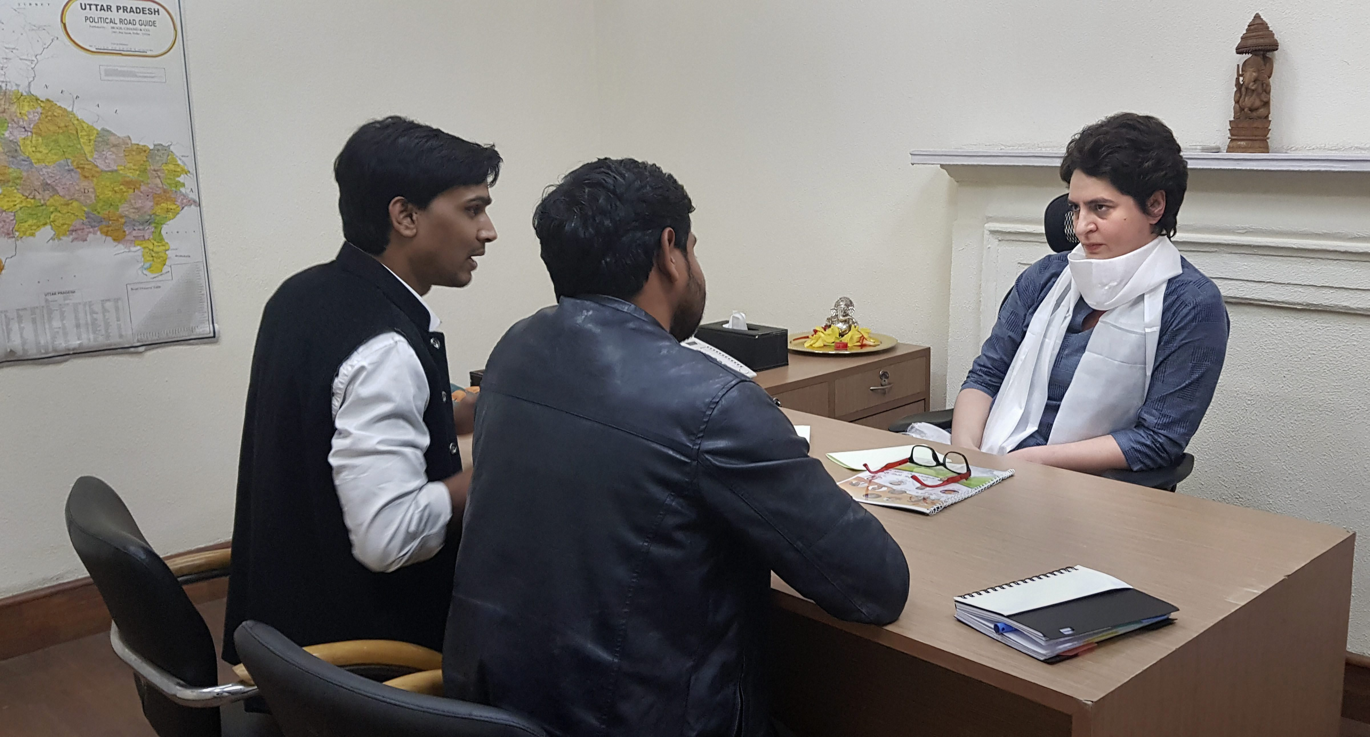 Congress general secretary Priyanka Gandhi Vadra in her office on February 6 in the party headquarters in New Delhi.