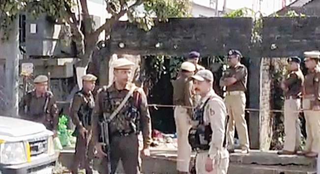 Additional DGP (law and order) G.P. Singh at one of the blast sites in Dibrugarh on Monday.