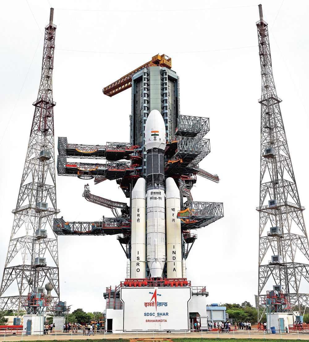 Rocket science: The GSLV Mk-III at the launch site in Sriharikota