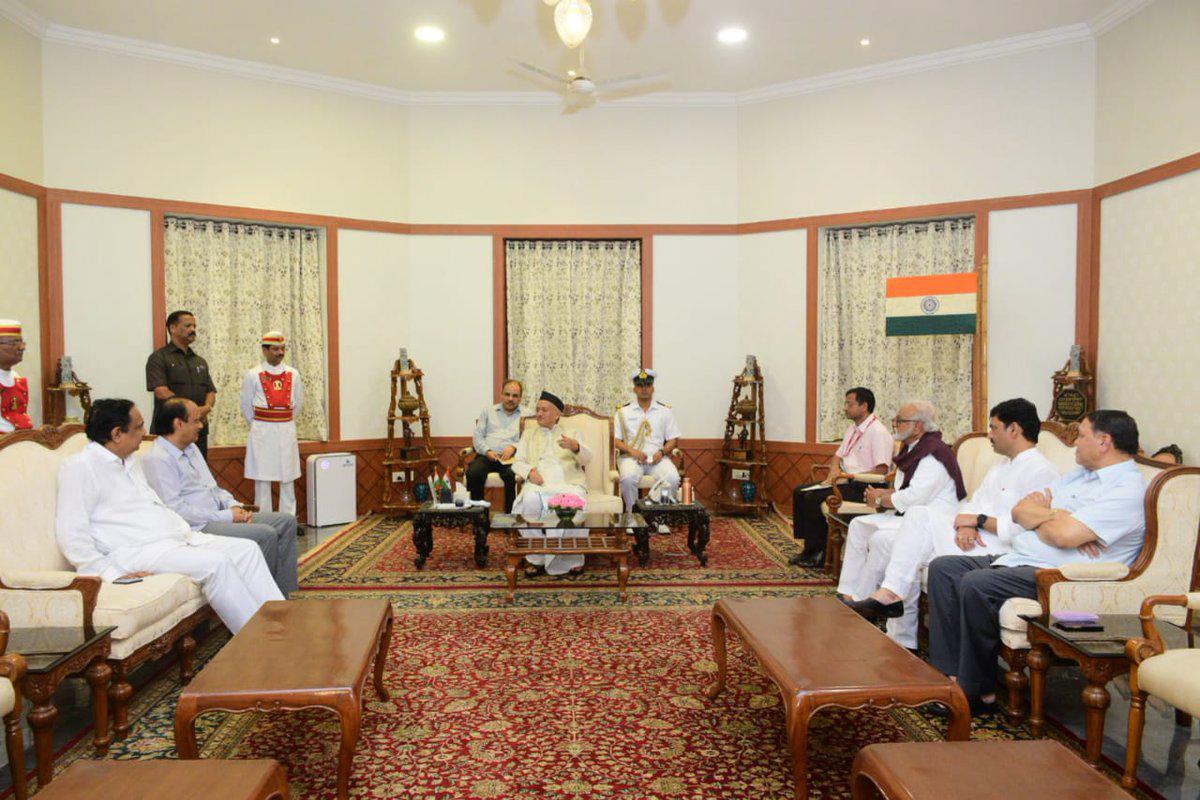 NCP leaders Ajit Pawar, Dhananjay Munde and others meet Maharashtra governor B. S. Koshyari, at Raj Bhavan in Mumbai, Monday evening, November 11, 2019.