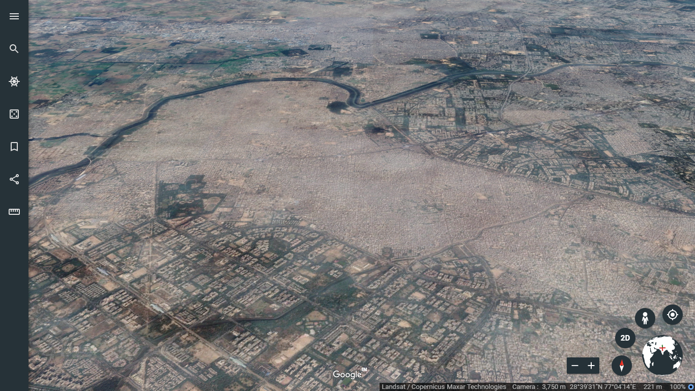 A Google Earth shot shows the contrast between the densely built Uttam Nagar, an unauthorised colony, and Dwarka, one of few planned neighbourhoods in Delhi.