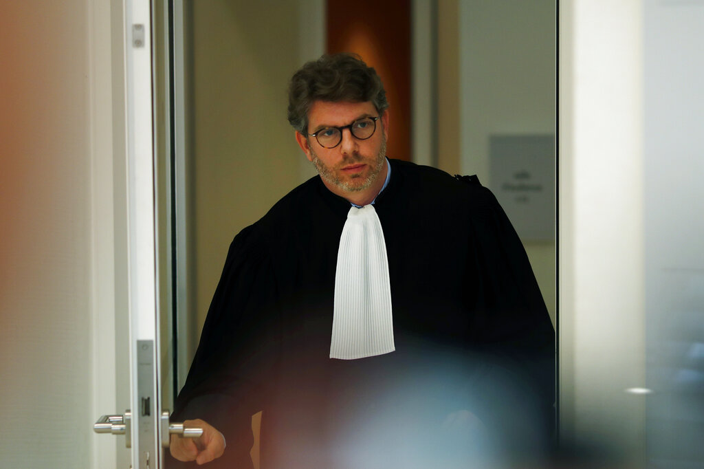 Lawyer of Saudi Princess Hassa bint Salman, Emmanuel Moyne, leaves the courthouse in Paris, on Thursday, Sept. 12, 2019.