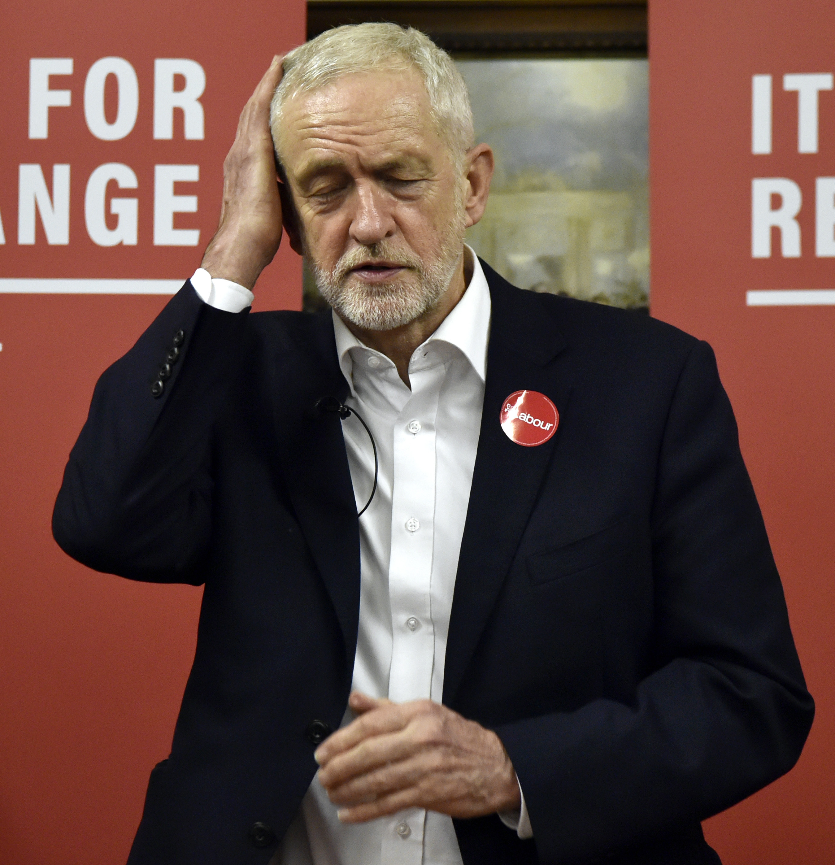 Labour Party leader Jeremy Corbyn speaks to supporters at the Pensioner Club in Dudley, England, Thursday, November 21, 2019