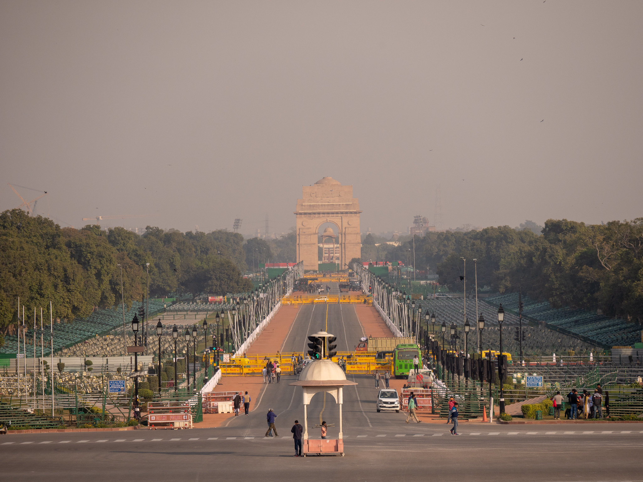 A view of the Central Vista, with India Gate in the distance. The massive scale and complexity of the projects envisaged for this area, which are proposed to be completed before the next general elections, challenges the imagination.