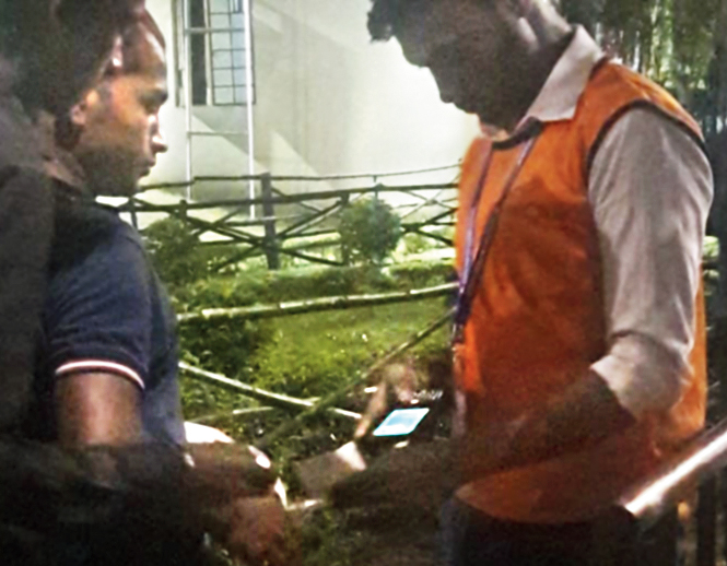 A handheld device is used to scan a ticket at the October 26, 2018, ISL match between ATK and Chennaiyin FC