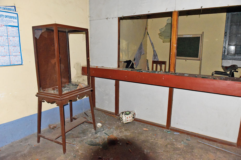 The smashed case in which the bust of Vidyasagar was kept in the college.