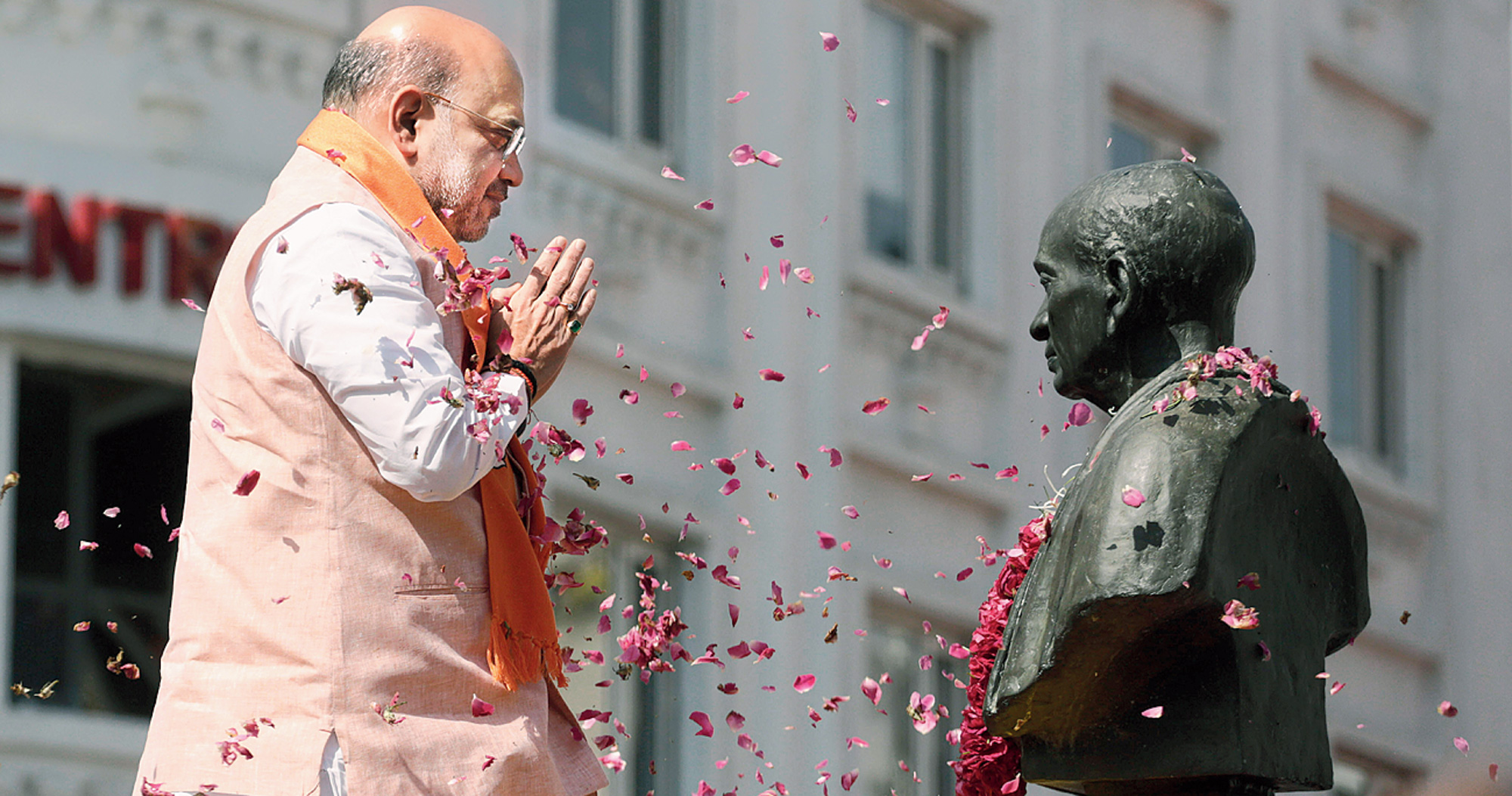 BJP president Amit Shah, considered the second most powerful person in the country after Prime Minister Narendra Modi, pays tribute to Sardar Vallabhbhai Patel, before filing his nomination papers in Ahmedabad on Saturday.