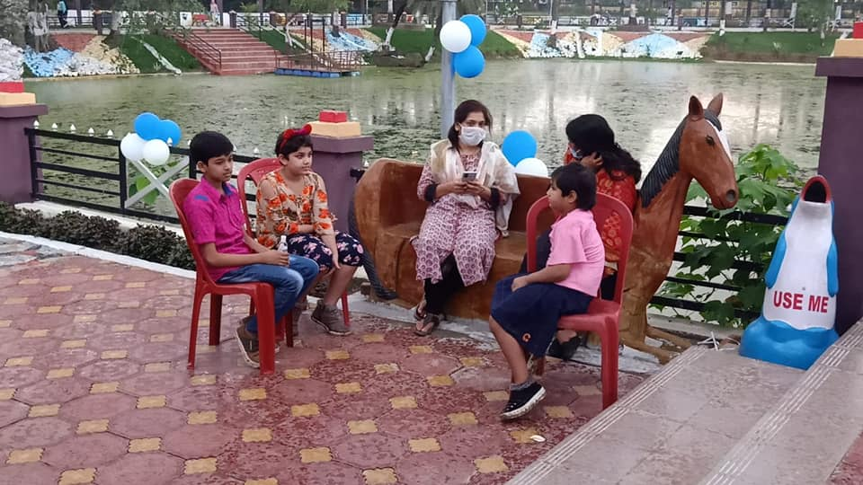 Deputy development commissioner interacts with children at Simpson Park in Hazaribagh