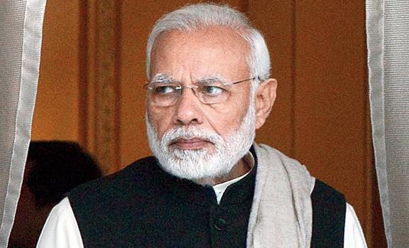 Narendra Modi at Hyderabad House in New Delhi on Friday.