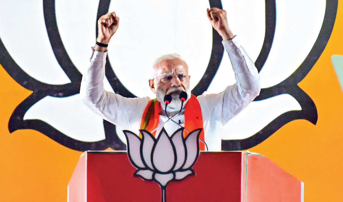 Prime Minister Narendra Modi during an election rally for the Lok Sabha polls, in Prayagraj, on May 9, 2019.