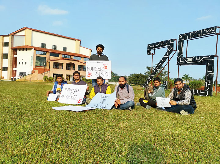 Students of IIT Guwahati stage a hunger strike in support of B.K. Rai.