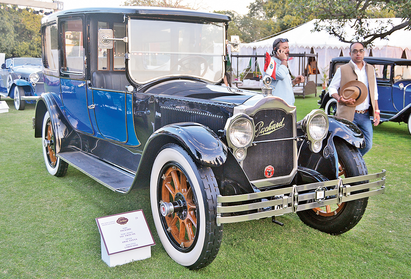 This very upright and stately 1919 Packard Twin Six was once the official car of the governor of Pondicherry when it was still a French territory. The French government's emblems can still be seen on the front bumper and the inside door handles.
