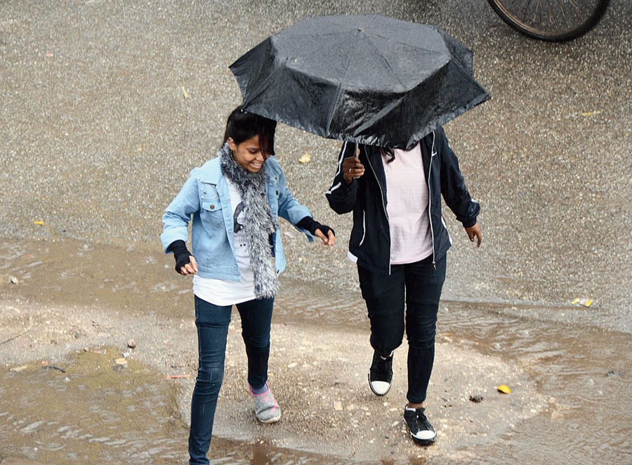 Puddles and umbrellas were back in Ranchi on Tuesday.