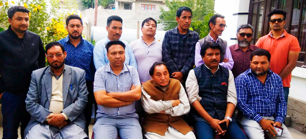 Leaders of the Kargil unit of National Conference address a press conference in protest against the proposed abrogation of special status of Jammu and Kashmir, in Leh, Monday, August 5, 2019.