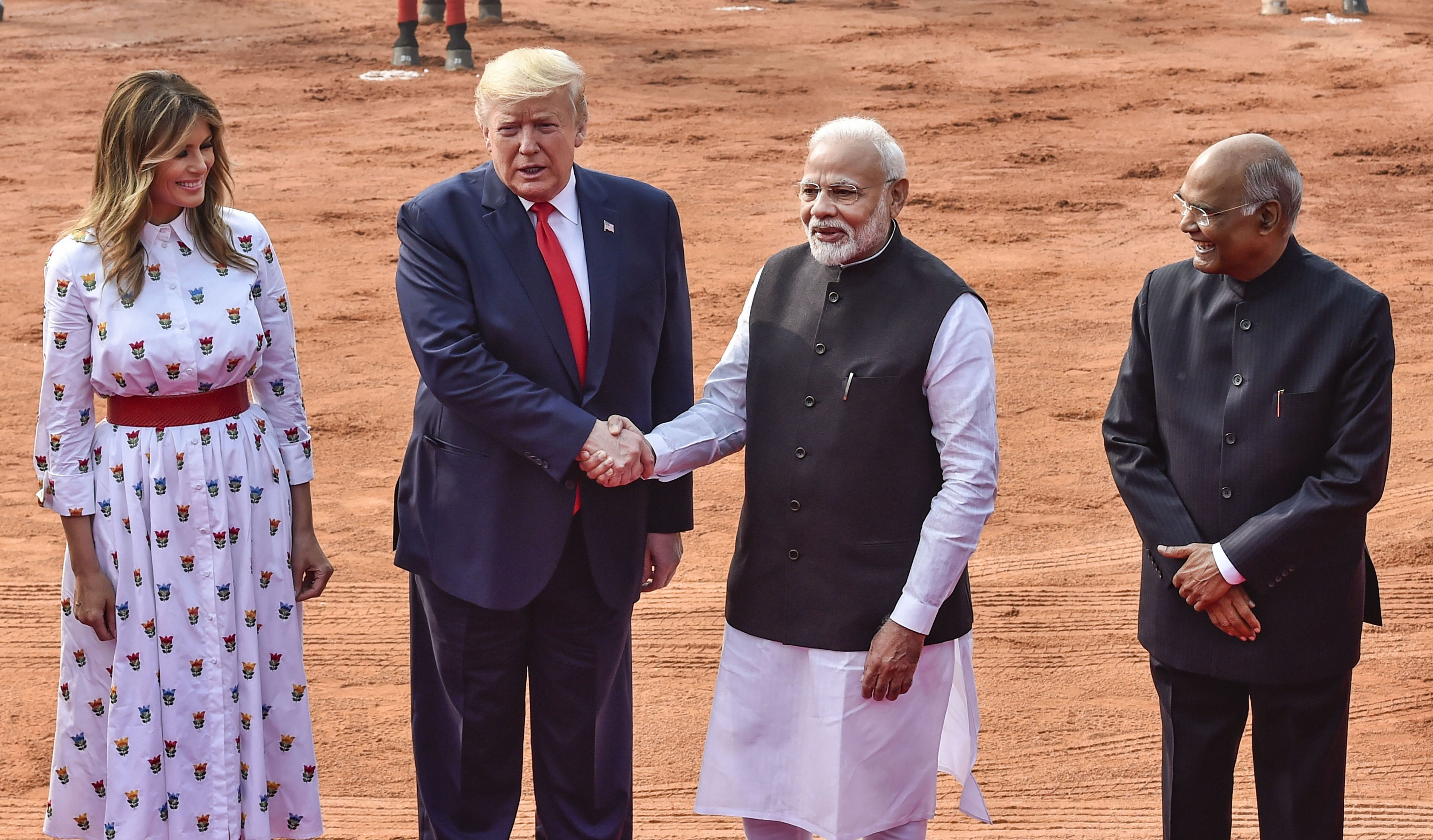 US President Donald Trump and US First Lady Melania Trump being welcomed by President Ram Nath Kovind and Prime Minister Narendra Modi during a ceremonial reception at Rashtrapati Bhavan in New Delhi, Tuesday, February 25, 2020